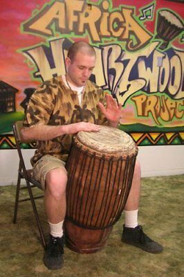 - Hand-carved African Solid Wood Conga Drum - 12x30 - Huge Bass and Deep Tones!