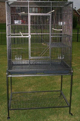 "64"" Large Wrought Iron Flight Canary Bird Cage With Removable Rolling Stand-209"
