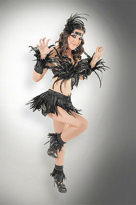 7pc Black Feather Crow Raven Bird Costume Bra Top Skirt Cuffs Headdress Set