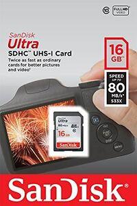 SanDisk 16 GB Ultra SDHC SDXC SD Class 10 80MB/S High Speed 533X Card UHS-I HD