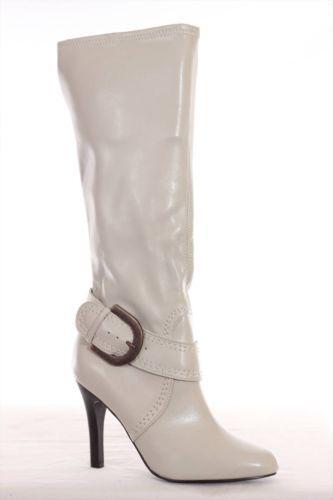 white knee high heel boots ebay