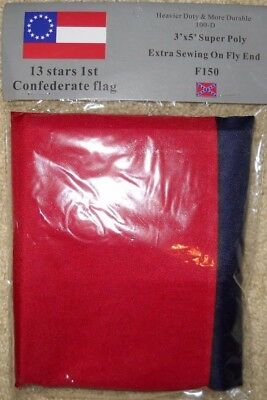 "1ST NATIONAL CONFEDERATE ""STARS & BARS"" 13 STAR CSA SOUTHERN FLAG 3'x5' Flag NEW"