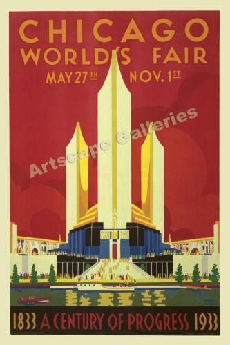 Vintage chicago poster ebay for Vintage chicago posters