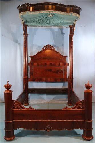 American Rococo Flame Mahogany Half Tester Bed - Prudent Mallard