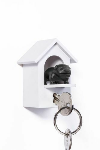Qualy Key Holder Dog Watch Dog New/Boxed Kennel Black Bulldog White
