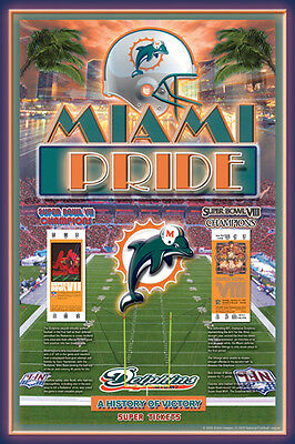Miami Dolphins Two Time Super Bowl Champions Commemorative Poster  1973 74