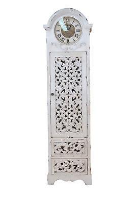 3320 Standuhr weiß Uhr Schrank Schrankuhr Antiklook Bodenstanduhr Holzstanduhr