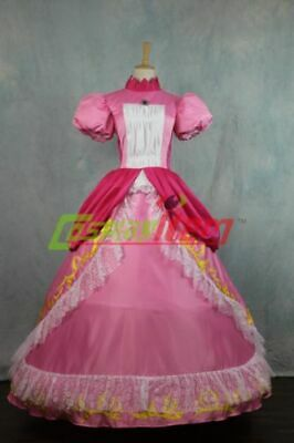 Super Mario Princess Peach DRESS Adult Costume Bros and Luigi Cosplay costume](Mario And Peach Costumes)