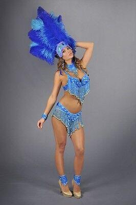 LAS VEGAS SHOWGIRL BRAZILIAN DANCER Womens Blue GLITTER COSTUME 8 Pcs SET New