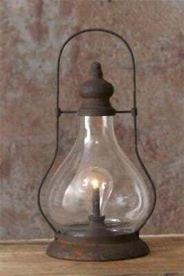 New Primitive Rustic LARGE RUSTY HURRICANE LANTERN TIMER LIGHT LED Battery Lamp (Hurricane Night Lights)