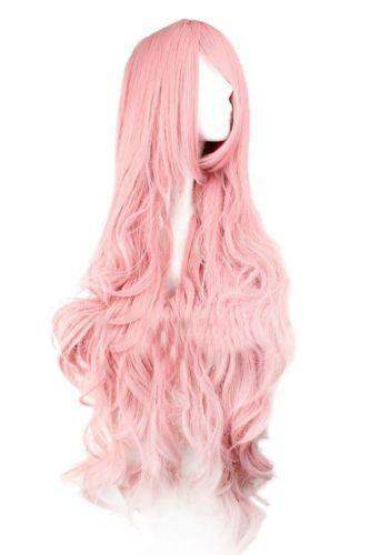 Long Curly Cosplay Pink Wig Wigs Ebay