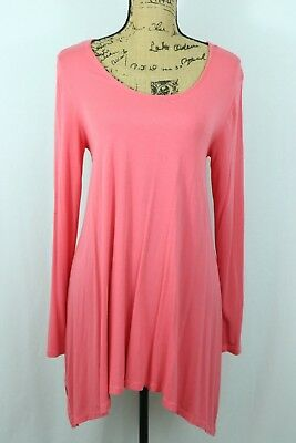 Soft Surroundings Medium Perfect A Line Tunic Tee Asymmetrical Jersey Knit Coral