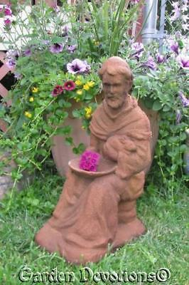 St. Francis of Assisi and Rabbit Birdfeeder Bird Bath Garden Statue