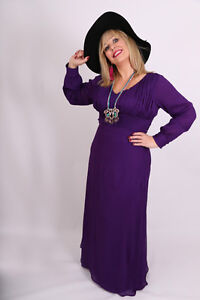 TALL-Plus-Size-Long-Maxi-Evening-Dress-Purple-Black-Chiffon-with-sleeves