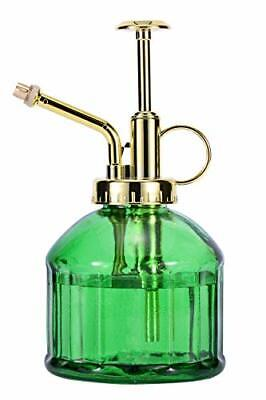 """Glass Plant Mister Spray Bottle 6.5"""" Green Glass Water Spray Bottle With Gold T"""