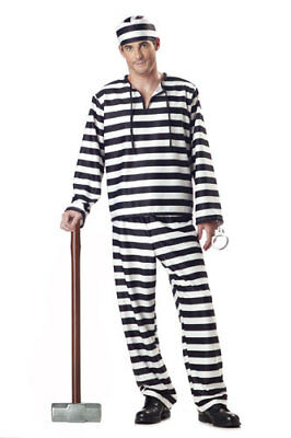 Convict Halloween Costume Mens (Jailbird Convict Adult Mens Halloween)