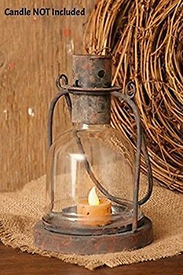 New Primitive Country Rustic Black Metal Candle Holder Lantern Hanging Lamp