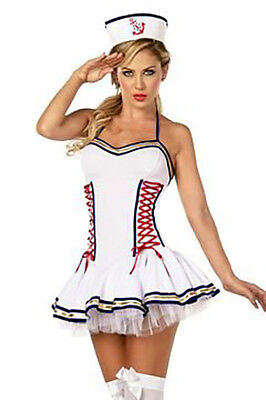 Sexy Military Sailor NAVY Halloween Costume Pin Up Dress Lingerie Naughty Small](Female Sailor Halloween Costume)