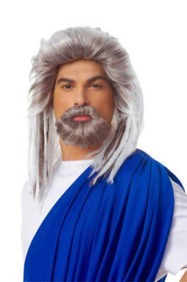 Mens Neptune Grey Adult Roman Costume Wig And - Grey Beard And Wig