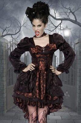 Atixo Premium-Vampir-Kostüm Kleid, Halsband, - Kostüm Broschen
