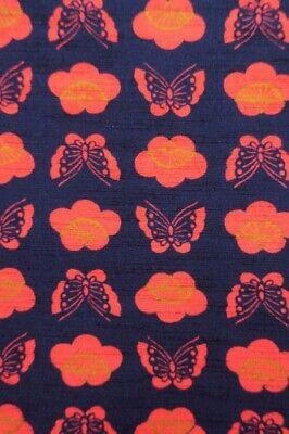 Vintage Japanese Ladies' Navy/Orange 'Butterflies' Wool Kimono Haori Jacket S/M