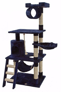 Navy Cat Tree/Scratcher with Detachable Hammock!