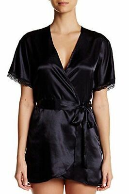 Bloom by Jonquil Solid Satin 3 Pc Tank, Thong & Robe Set, Black