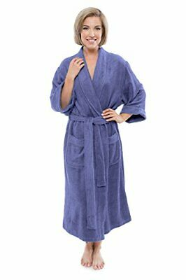 Women's Luxury Terry Cloth Bathrobe - Bamboo Viscose Robe 2X / 3X Kashmir Blue Bamboo Terry Robe