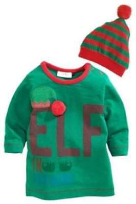 ⭐NEXT Christmas Elf Outfit Top & Hat Set First Size, 0-1 Month Xmas Gift Baby ⭐