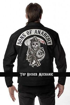Authentic Sons Of Anarchy Top Rocker Mechanic Quilted Lined Jacket M 2Xl