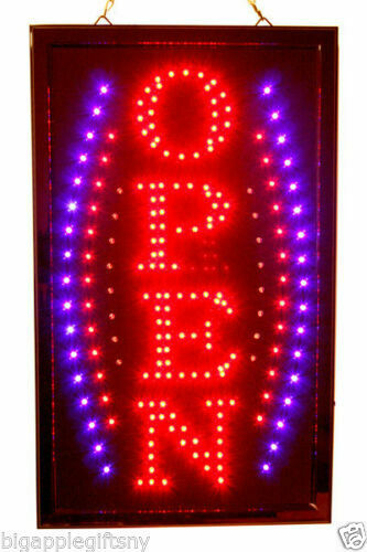 """Large VERTICAL Animated LED OPEN Sign w. Motion ON/OFF Switch 21"""" X 13"""" #026"""