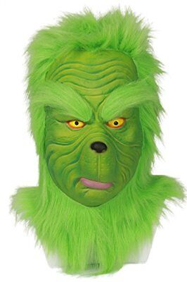 Grinch Mask Green Latex Full Head Mask Cosplay Costume Accessories for Adult Men