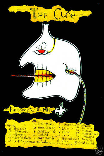 New Wave: The Cure European Tour Schedule Poster 1984    12x18