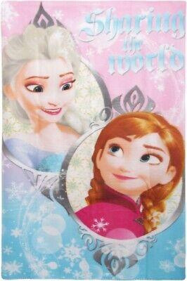 "Girls Disney Frozen ""Sharing The World"" Character Fleece Blanket Throw Xmas Gift"