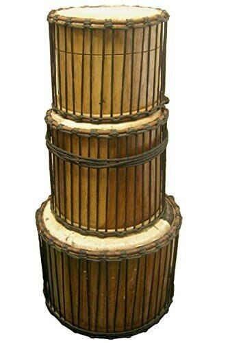 Classic Heartwood Travel Dunun Set - 3 African Dundun bass drums with sticks