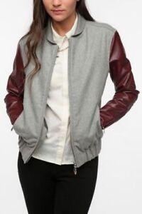 New WeSC Women Edif Faux Leather Mix Bomber Jacket Grey Large