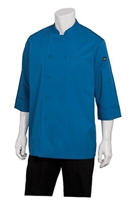 New Chef Works Mens Morocco Short Sleeve Chef Coat Blue Small Free2dayship