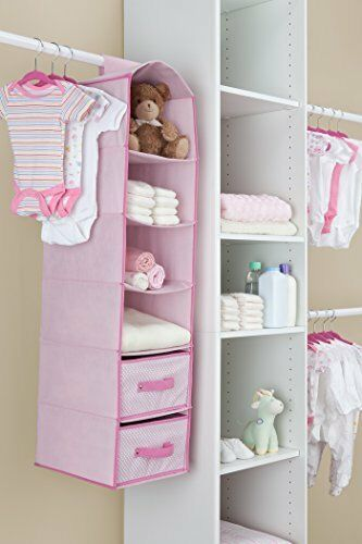 Baby Nursery Room Closet Organizer Children Hanging 6 Shelf Storage 2 Drawers
