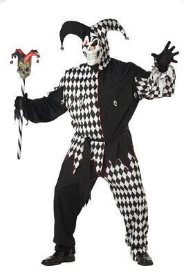 Adult Black/White Evil Jester Big & Tall Costume 48-52 Plus
