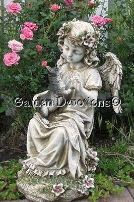 GUARDIAN ANGEL & KITTEN CAT Outdoor Garden Statue MEMORIAL ~ New!