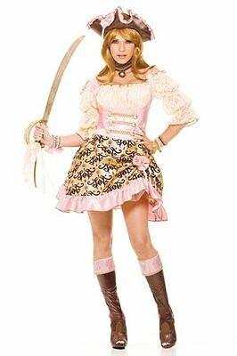 Womens French Kiss Romantic Treasure Costume Pink  (Kiss Womens Costume)