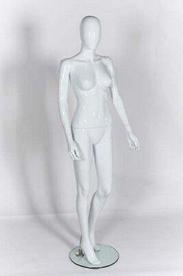 Female Plastic Display Mannequin Faceless Egg Head White Gloss Finish Bent Leg