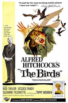 CLASSIC HITCHCOCK The Birds Movie Poster TIPPI HEDREN Psycho Thriller 24X36