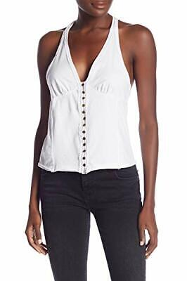 Free People Womens White Mylo Casual Sleeveless Wrap Top $48 Sz M TINI {&}