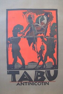 1919 JULIUS KLINGER TABU RARE POSTER BERLIN FASHION SMOKING COLONIALISM NAUGHTY