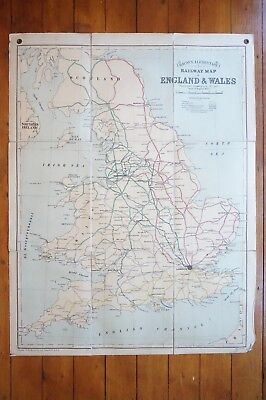 Bacons Excelsior Wall Atlas Railway Map Of Great Britain Lined Backed