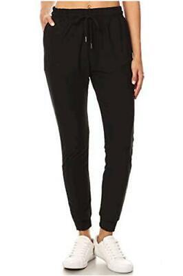 Women s Juniors Soft Jogger Pants Drawstring Pockets, Black, Size X-Large WWwe - $13.99