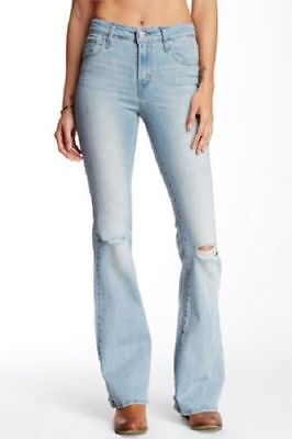 NEW LEVI'S Womens / Junior High Rise Flare Stretch Jeans 25 x 32 NWT $54.50