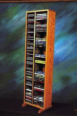 Solid Oak Tower for CD's and DVD's Model 211-4 (Solid Oak Cd Dvd)