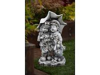 Boy & Girl with lantern stone ornament